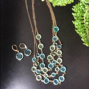 💎Swarovski gold plated necklace & earring set 💎